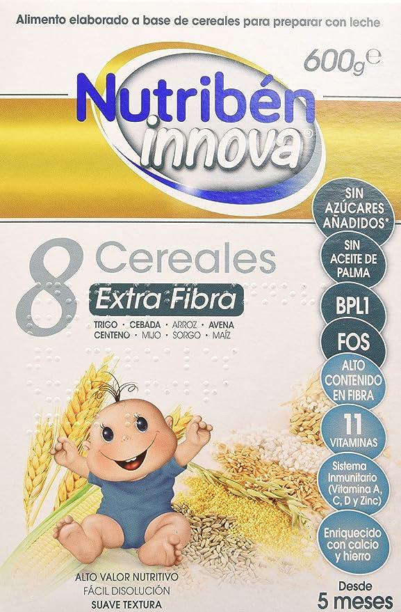 Nutribén Papillas Innova 8 Cereales Extrafibra, Sin aceite de Palma ni azucares añadidos- Alimento Para bebés- Desde Los 5 Meses- 1 unidad 600g