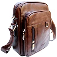 AlexVyan Stylish Leather Casual Brown Men and Women Girl Boy Make Up Bag Shoulder Bag Traveler Bag Messenger and Sling Bag 9 Inch Long 3 Outer Pocket