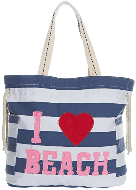 02da63e9f4 Amazon.com  Beach Bags - Extra Large Waterproof Canvas Striped Beach Bag  Tote For Women  Clothing