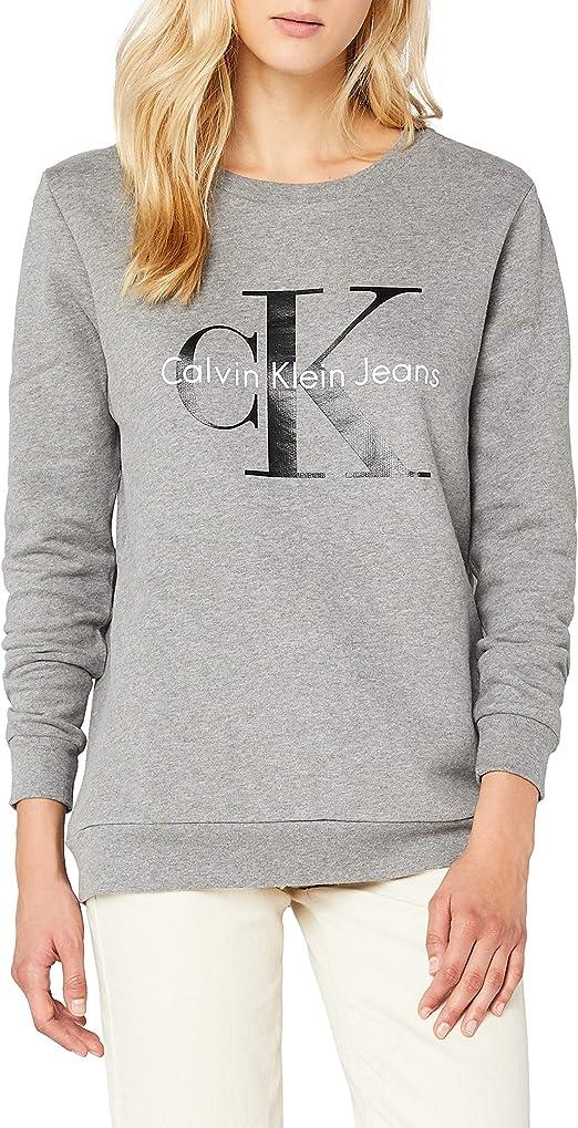 Calvin Klein Crew Neck HWK True Icon sudadera, Verde (Trekking Green 347), S para Mujer