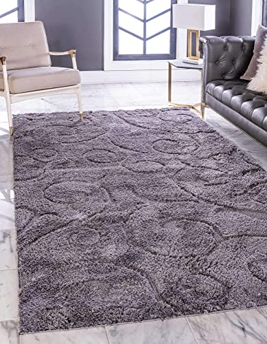 Unique Loom Floral Shag Collection Soft Plush Modern Floral Vines Dark Gray Area Rug 9' 0 x 12' 0