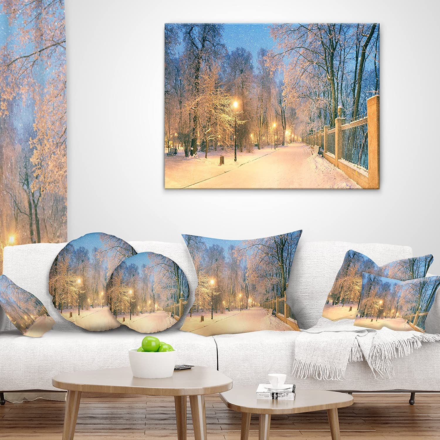 Sofa Throw Pillow 26 in x 26 in Insert Printed On Both Side in Designart CU9146-26-26 Path in Mariinsky Garden Landscape Photo Cushion Cover for Living Room