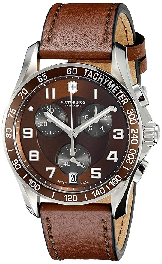 amazon com victorinox unisex 241498 chrono classic stainless amazon com victorinox unisex 241498 chrono classic stainless steel watch brown leather band victorinox watches