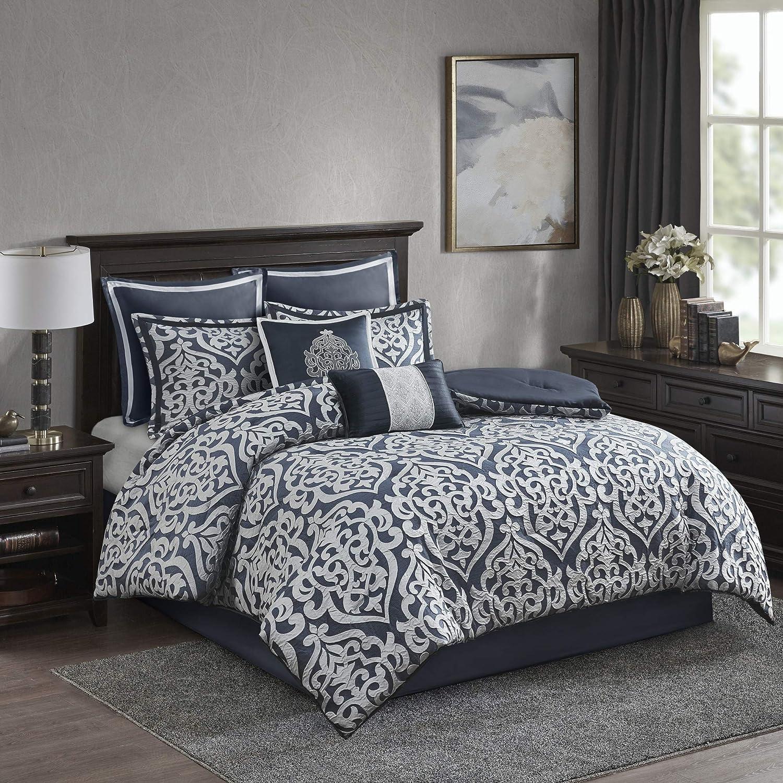 Madison Park Odette Comforter Set Jacquard Damask Medallion Design All Season Down Alternative Bedding, Matching Shams, Bedskirt, Decorative Pillows, King(104