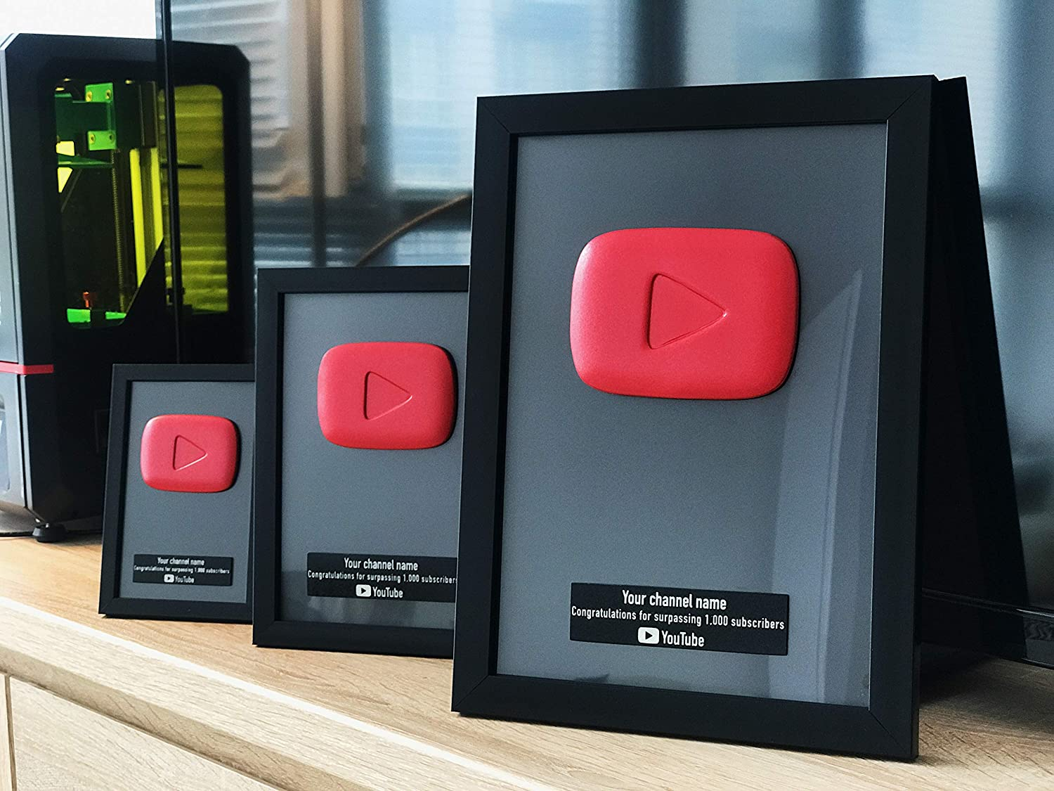 Youtube Play Button Gift for Youtubers Marco de Placa ...