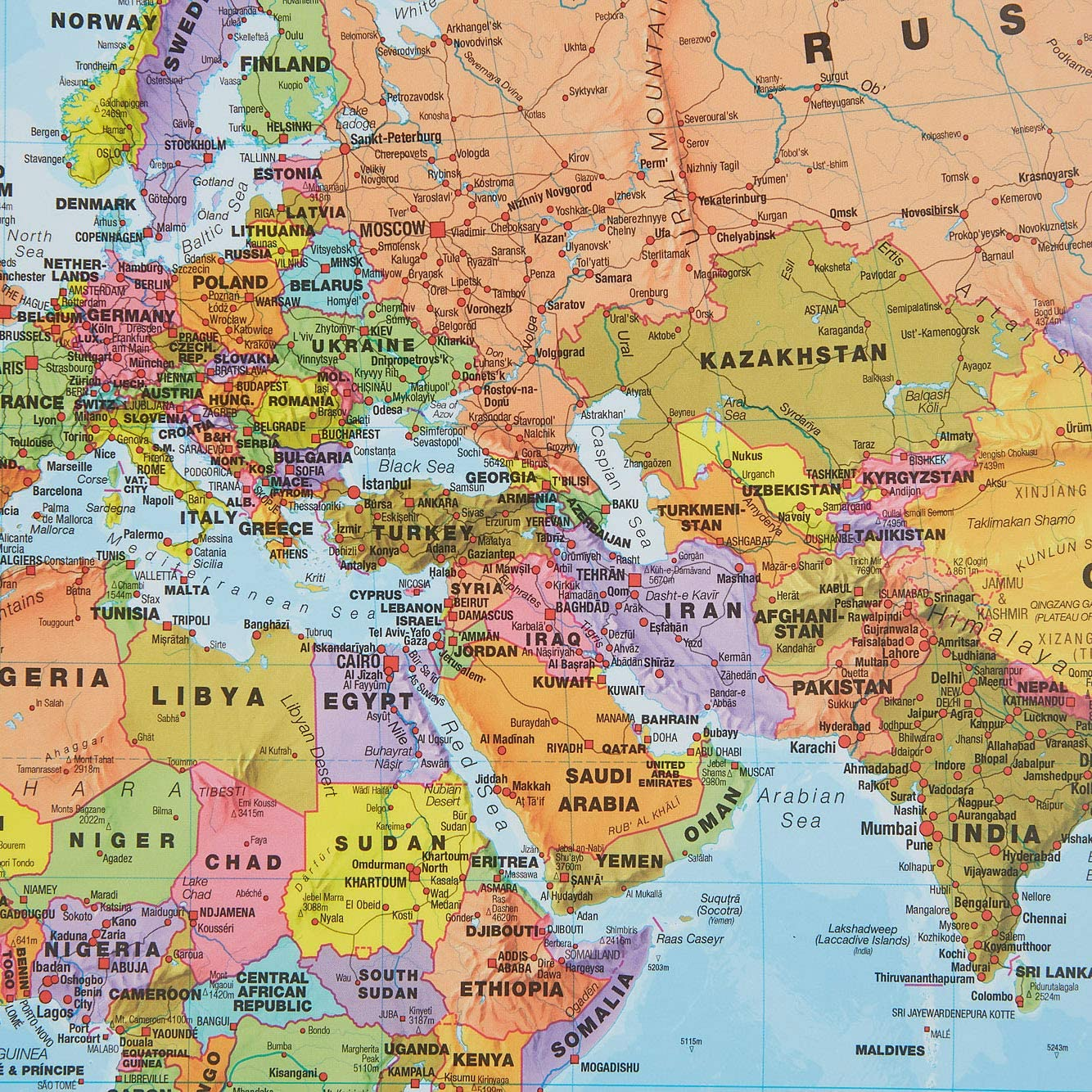 h x 59.4cm w Laminated 84.1cm Maps International World Map with Flags