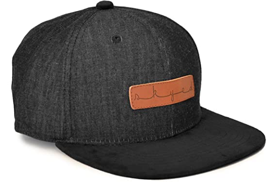 Skyed Apparel Snapback Hat Collection with Genuine Leather Strap (Multiple  Colors) (Black Denim 30eb0c20374