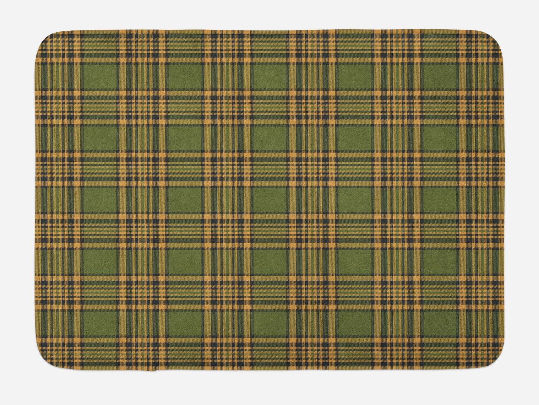 Lunarable Plaid Bath Mat, Tartan Pattern in Autumn Tones Old Fashioned Design Country Illustration, Plush Bathroom Decor Mat with Non Slip Backing, 29.5 W X 17.5 W Inches, Olive Green Mustard