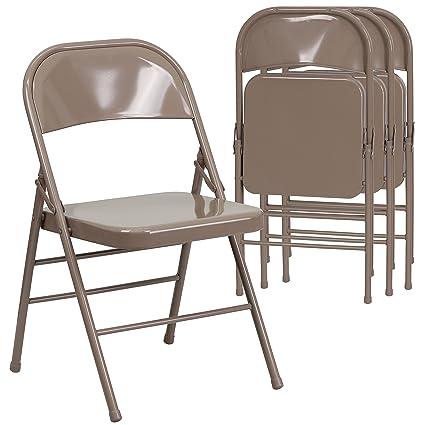 Superbe Flash Furniture 4 Pk. HERCULES Series Triple Braced U0026 Double Hinged Beige Metal  Folding Chair