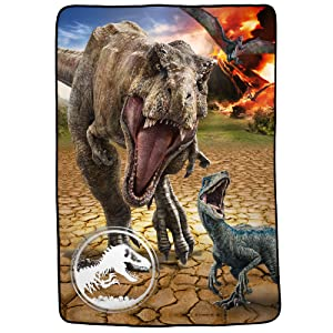 "Franco Kids Bedding Super Soft Plush Microfiber Blanket, Twin/Full Size 62"" x 90"", Jurassic World"