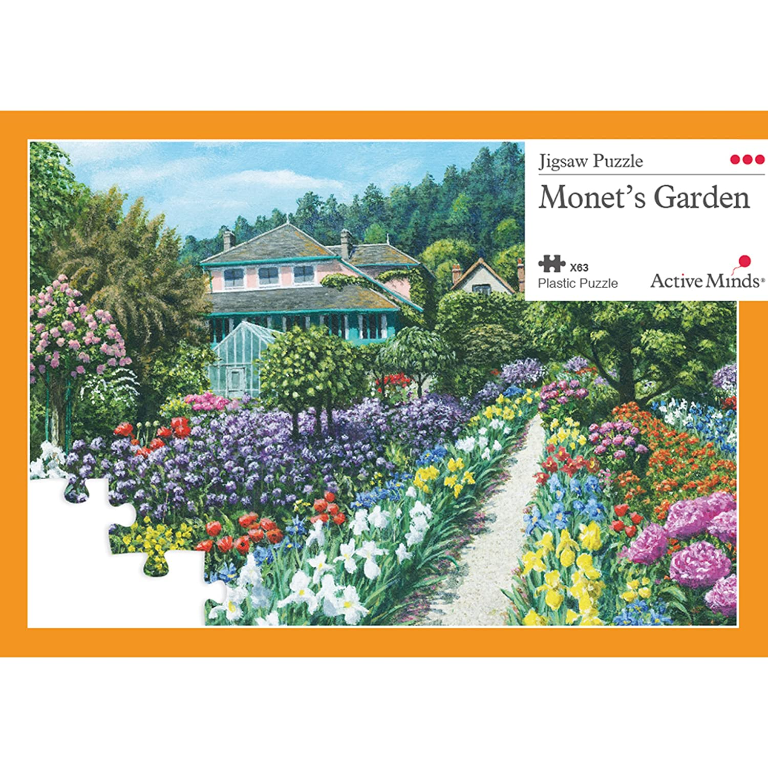 Active Minds Monet's Garden 63 Piece Jigsaw Puzzle: Specialist Alzheimer's / Dementia Activities and Games