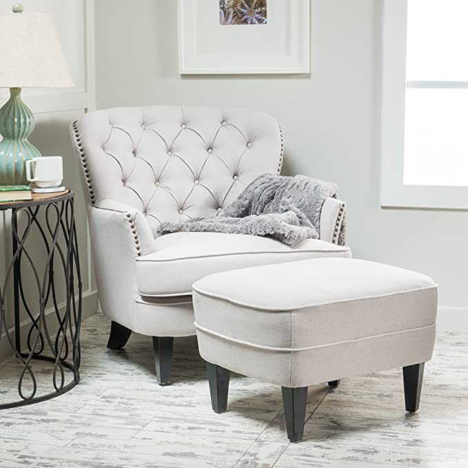 Amazon.com: Alfred Natural Fabric Club Chair Ottoman: Kitchen & Dining