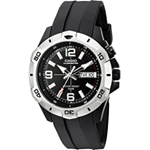 Casio Mens MTD1082-1AV Super Illuminator Analog Black Resin Watch