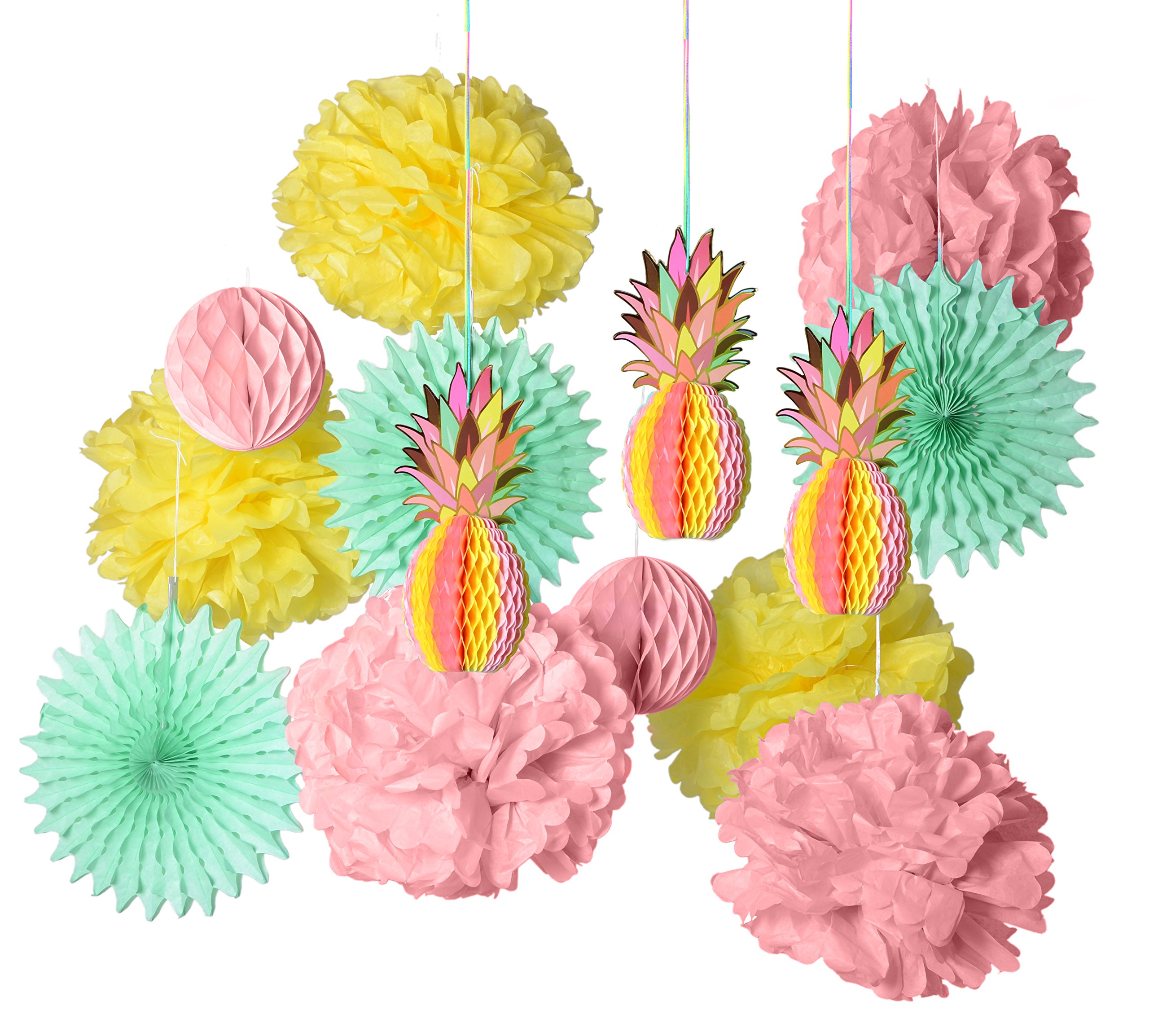 PAPER JAZZ multicolored paper honeycomb pineapple table centerpiece hanging decoration decor for summer Hawaiian laua tiki beach tropical fruit party (PINK SET) by paper jazz