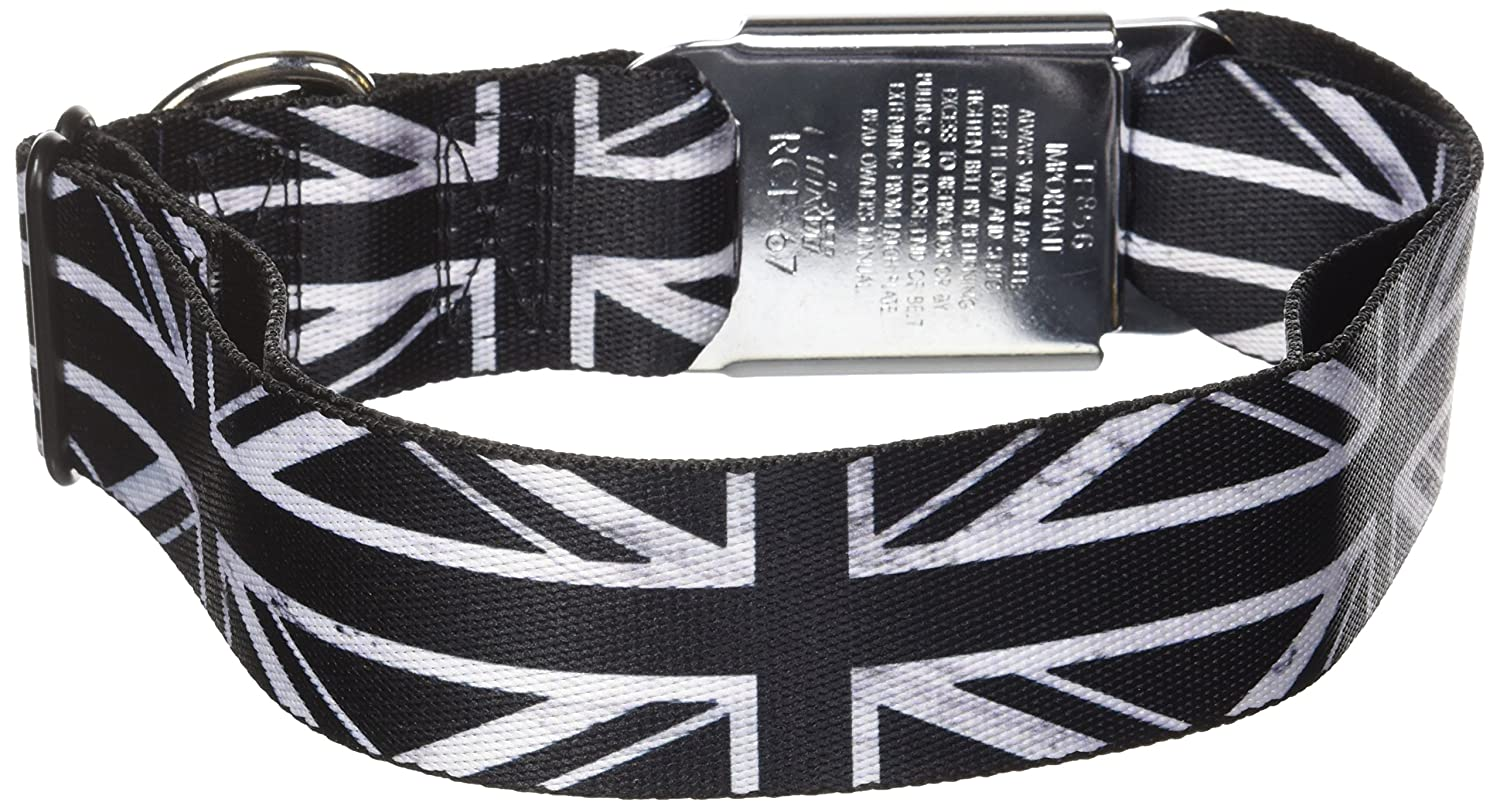 Buckle-Down Seatbelt Buckle Dog Collar Union Jack Distressed Black White 1.5  Wide Fits 18-32  Neck Large