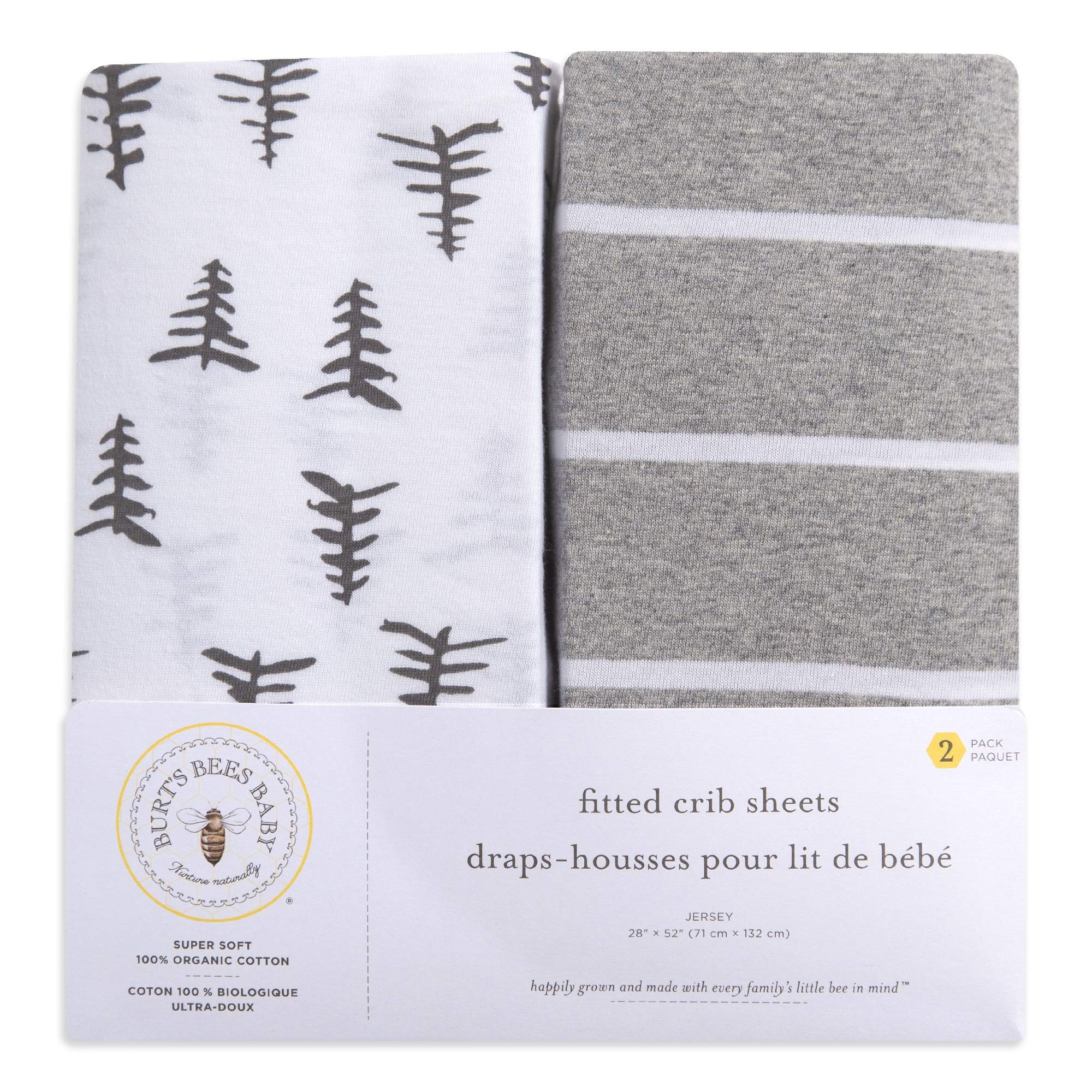 Burt's Bees Baby - Fitted Crib Sheets, 2-Pack, Boys & Unisex 100% Organic Cotton Crib Sheet for Standard Crib and Toddler Mattresses (Pine Forest) by Burt's Bees Baby (Image #2)