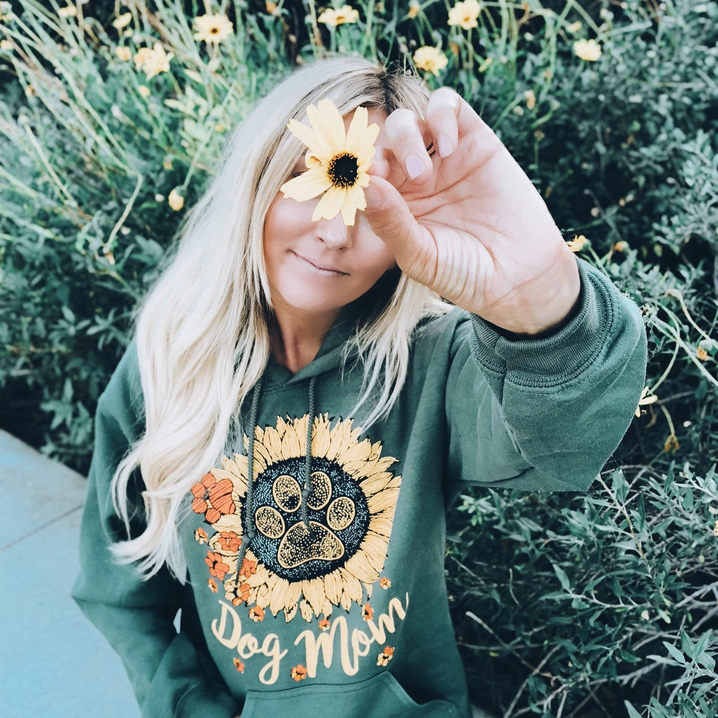 PAWZ Hoodie - Olive Sunflower Dog Mom Print - Every Item Sold Saves Homeless Dogs by PAWZ