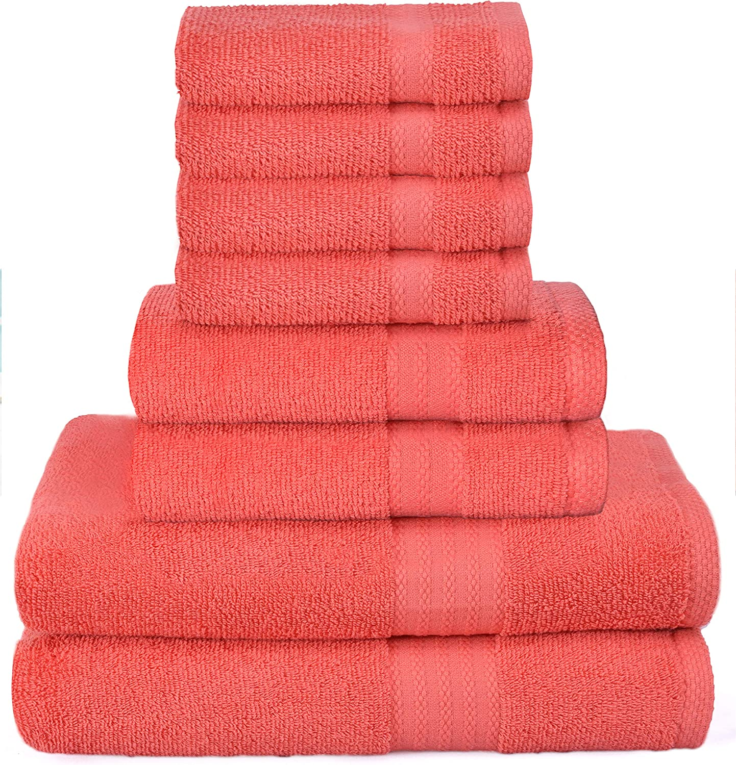 Glamburg Ultra Soft 8-Piece Towel Set - 100% Pure Ringspun Cotton, Contains 2 Oversized Bath Towels 27x54, 2 Hand Towels 16x28, 4 Wash Cloths 13x13 - Ideal for Everyday use, Hotel & Spa - Coral Orange