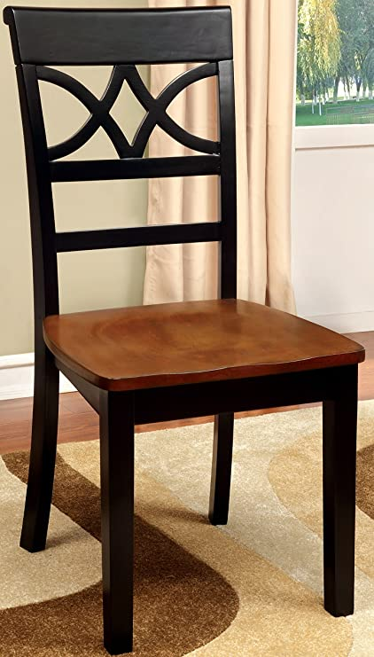 Furniture Of America Cherrine Country Style Dining Chair, Oak/Black, Set Of  2