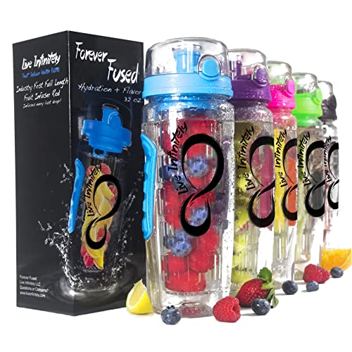 live infinitely 32 oz infuser water bottles featuring a full length infusion rod