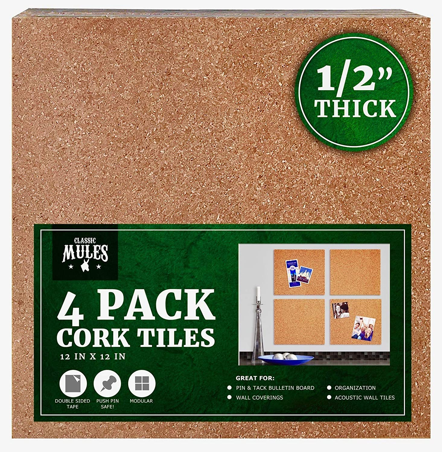 """4 THICK 6/"""" x 6/"""" x 1//2/"""" CORK BULLETIN MESSAGE BOARD TILES PANEL COASTERS"""