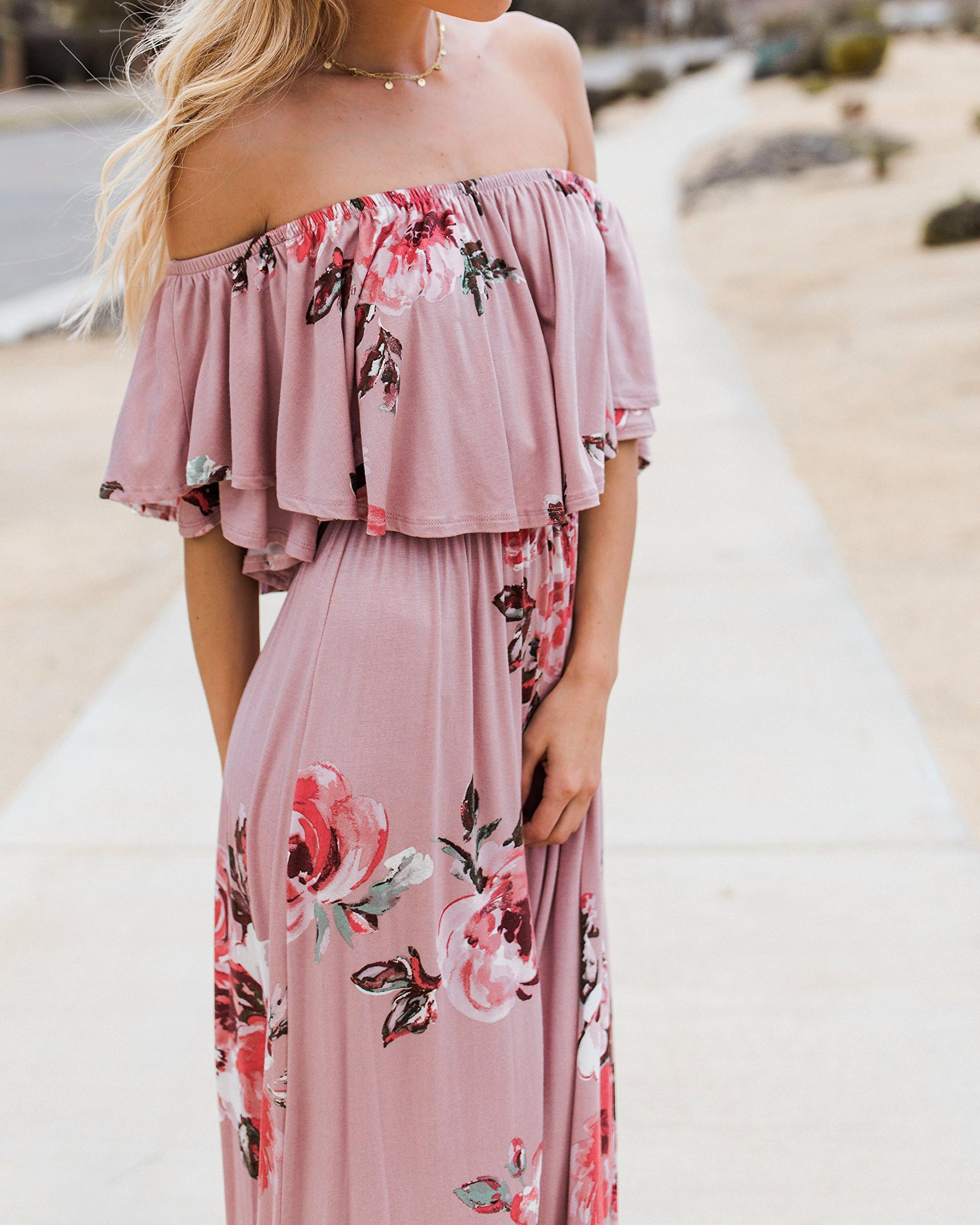 Womens Floral Off The Shoulder Dresses Summer Casual Ruffle High Waist Slit Long Maxi Dress with Pockets Pink