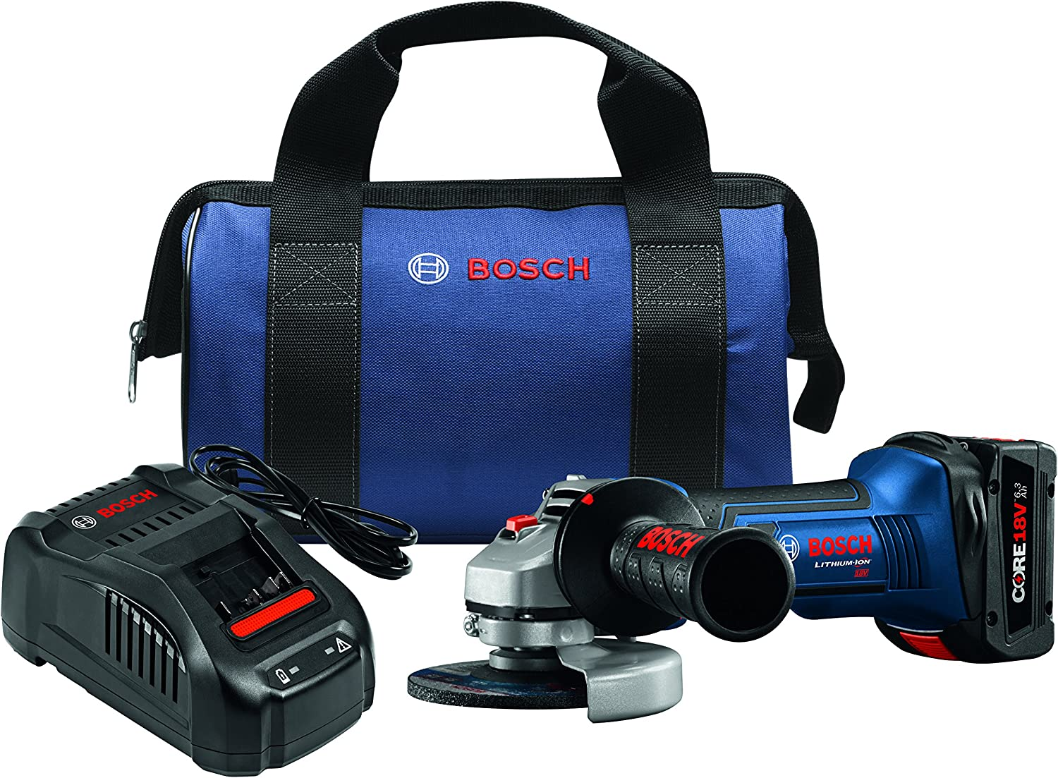 Bosch GWS18V-45B14 18V 4-1 2 Angle Grinder Kit with CORE18V Battery, Blue