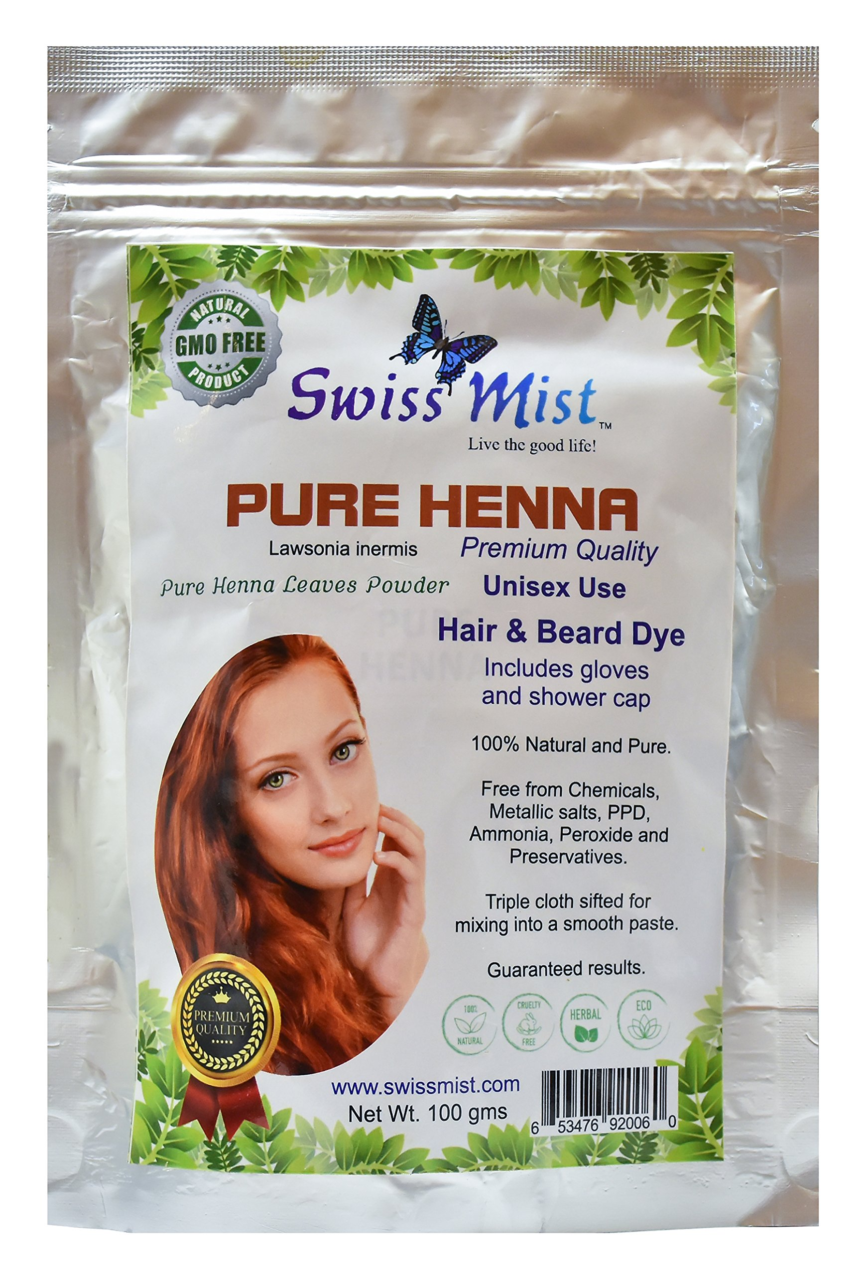 Swiss Mist Pure Henna Hair Dye 100% Natural, No Chemicals, Metallic Salts, Free from PPD, Ammonia, Peroxide, GMO-Free, Triple sifted for Quality, Guaranteed Freshness; 100 Grams (3.52 oz) by SWISS MIST LIVE THE GOOD LIFE!