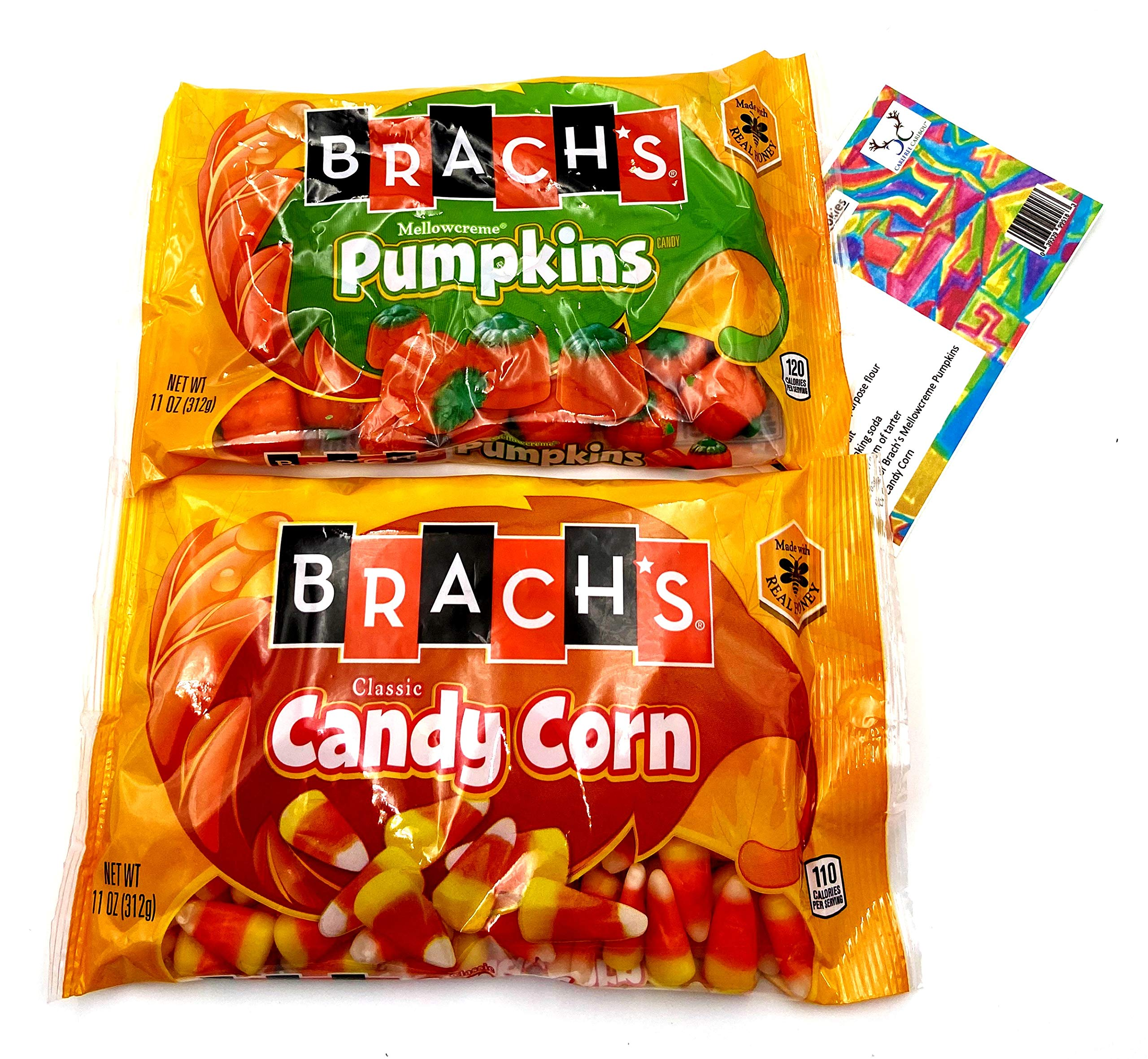 Brachs Candy Corn Bundle. One Bag of Brachs 11oz Candy Corn & One Bag of Brachs 11oz Mellowcreme Pumpkins with a Recipe Card from Carefree Caribou. Two of Brachs Holiday Candy Favorites!