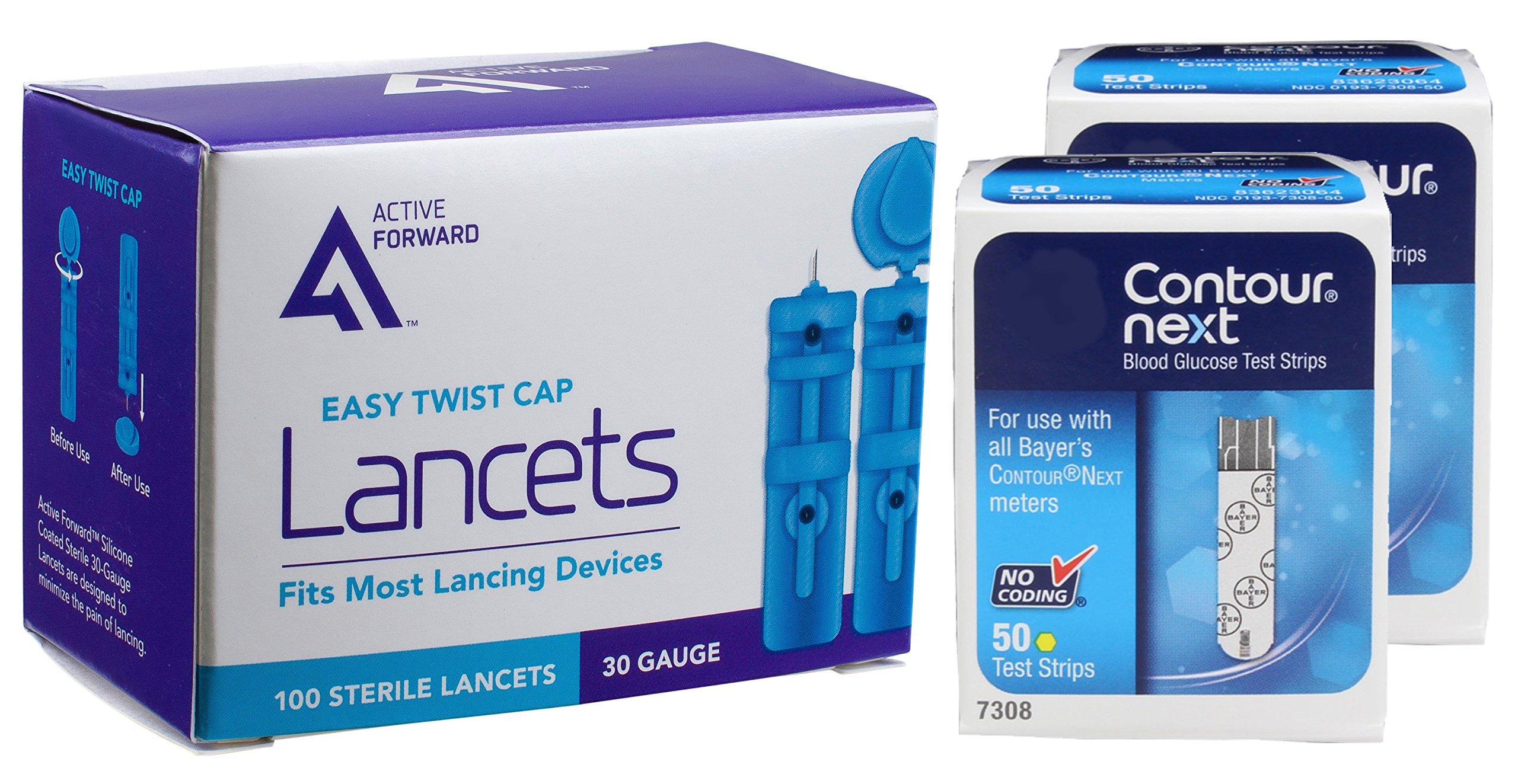 Contour Next Diabetes Test Strips & Lancets, 100 Count by Active Forward