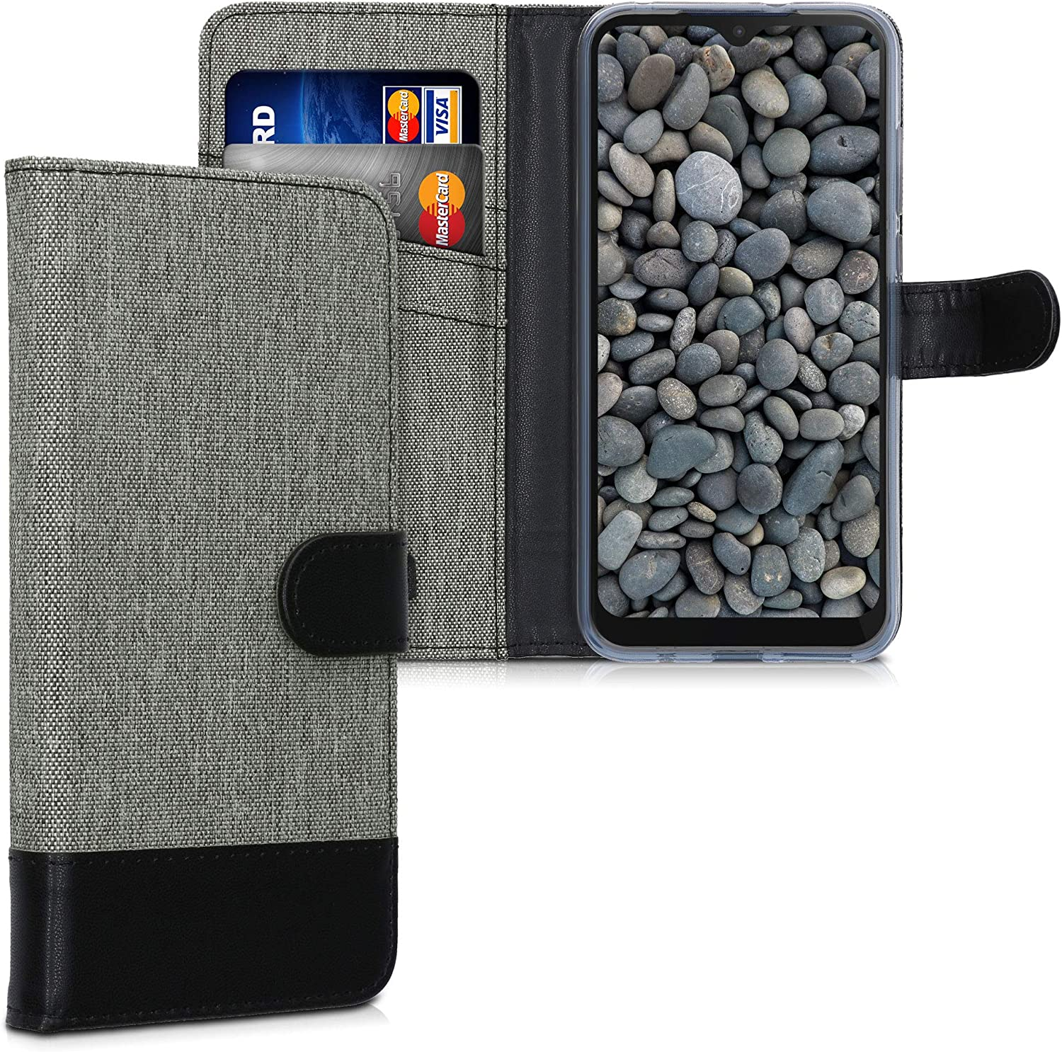 kwmobile Wallet Case Compatible with Motorola Moto E (2020) - Fabric Faux Leather Cover with Card Slots, Stand - Grey/Black