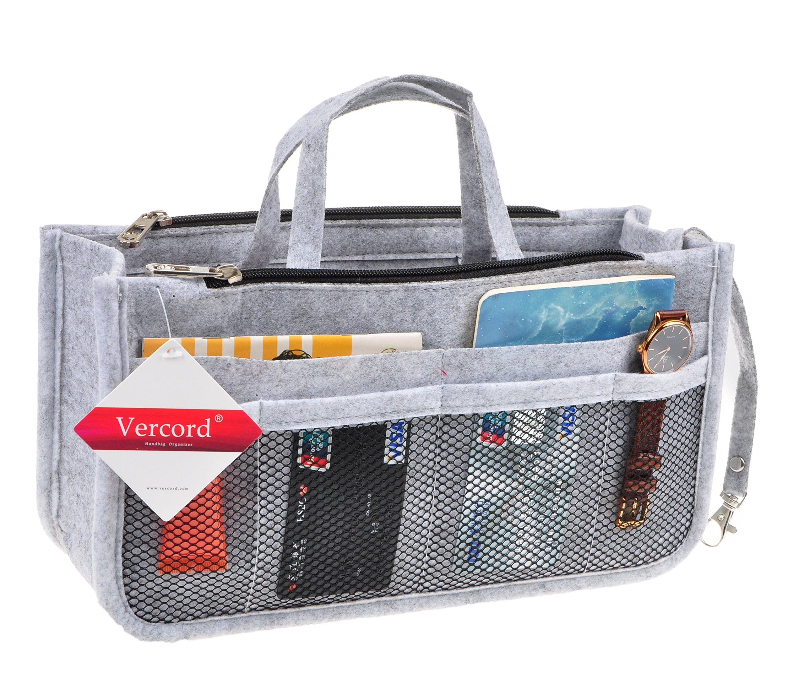 Vercord Sturdy Felt Handbag Purse Organizer Insert With Keychain 17 Compartments, Light Grey L