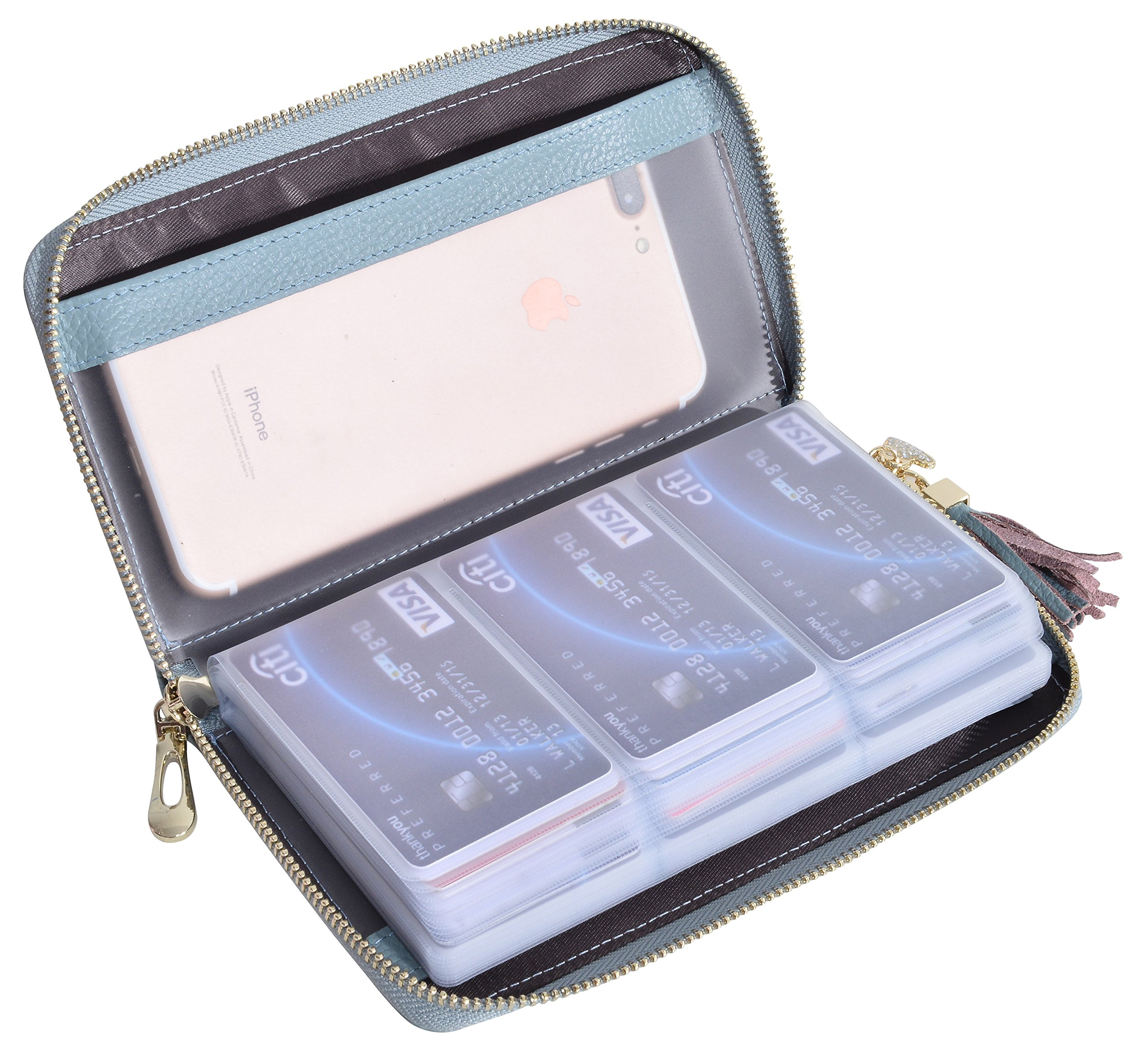 Yuhan Pretty Womens Credit Card Holder Wallet RFID Leather Small ID Card Case (60 Card Slots - Blue)