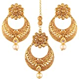 I Jewels Gold Plated Earring Set with Maang Tikka for Women (TE2412FL)