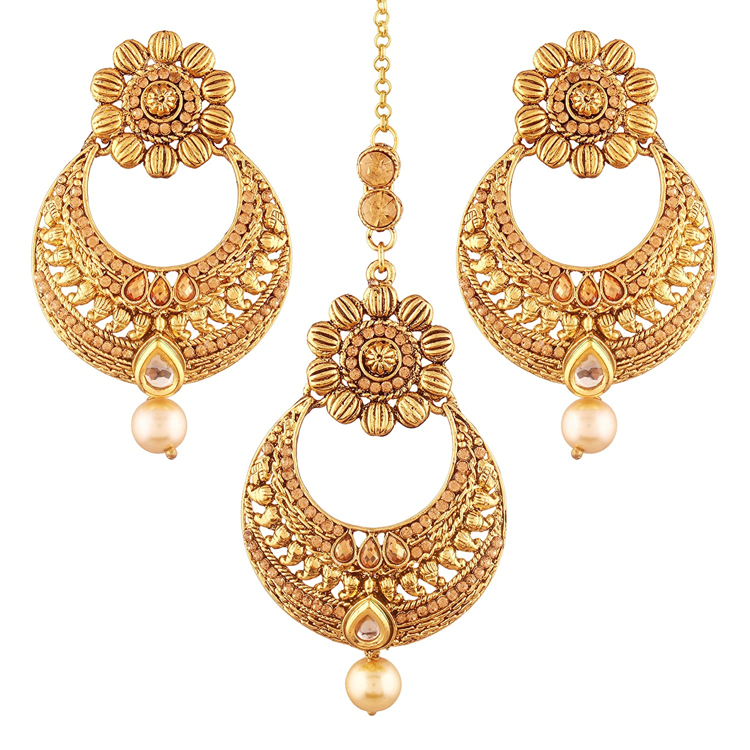 504ef1600 Buy I Jewels Gold Plated Earring Set with Maang Tikka for Women (TE2412FL)  Online at Low Prices in India   Amazon Jewellery Store - Amazon.in