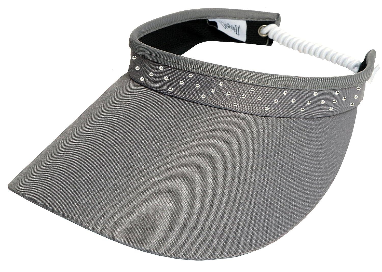 a144fe72e4680a Amazon.com : GloveIt Women's Adjustable Coil Visor - Golf & Tennis Head  Visors for Women - UV 50 Protection - Ladies Sun Visor Hat - Large Wide  Brim - Grey ...