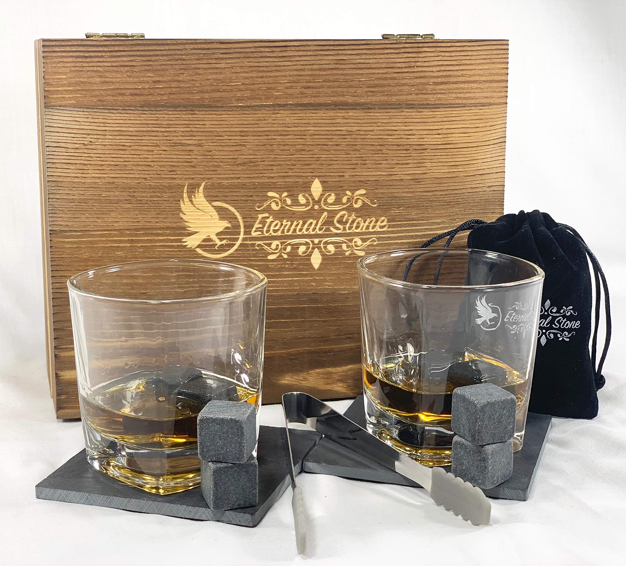 Whiskey Stones Gift Set- 8 Granite Chilling Rocks, 2 Crystal Scotch Whiskey Glasses, Slate Table Coasters, Tongs, Velvet Bag in Handcrafted Wooden Box   Gift for Husband, Dad, Birthday or Anniversary