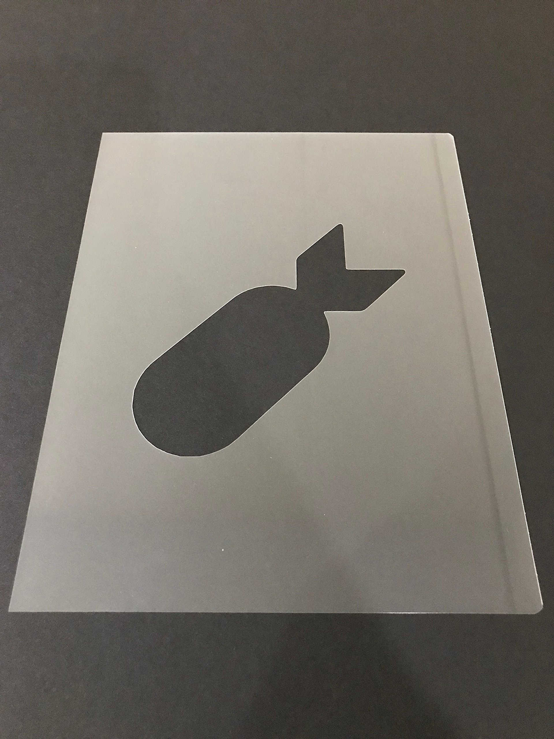 Bomb Stencil #5 Reusable 10 mil Thick 7in x 9in sheet by Everyday Funny Finds