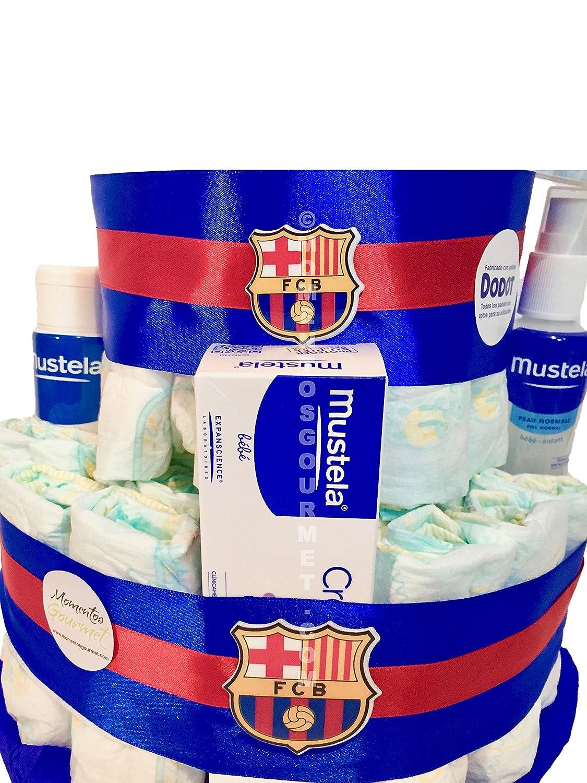 Tarta de pañales DODOT F.C.Barcelona MUSTELA (Talla 2 (3-6 kg)): Amazon.es: Bebé