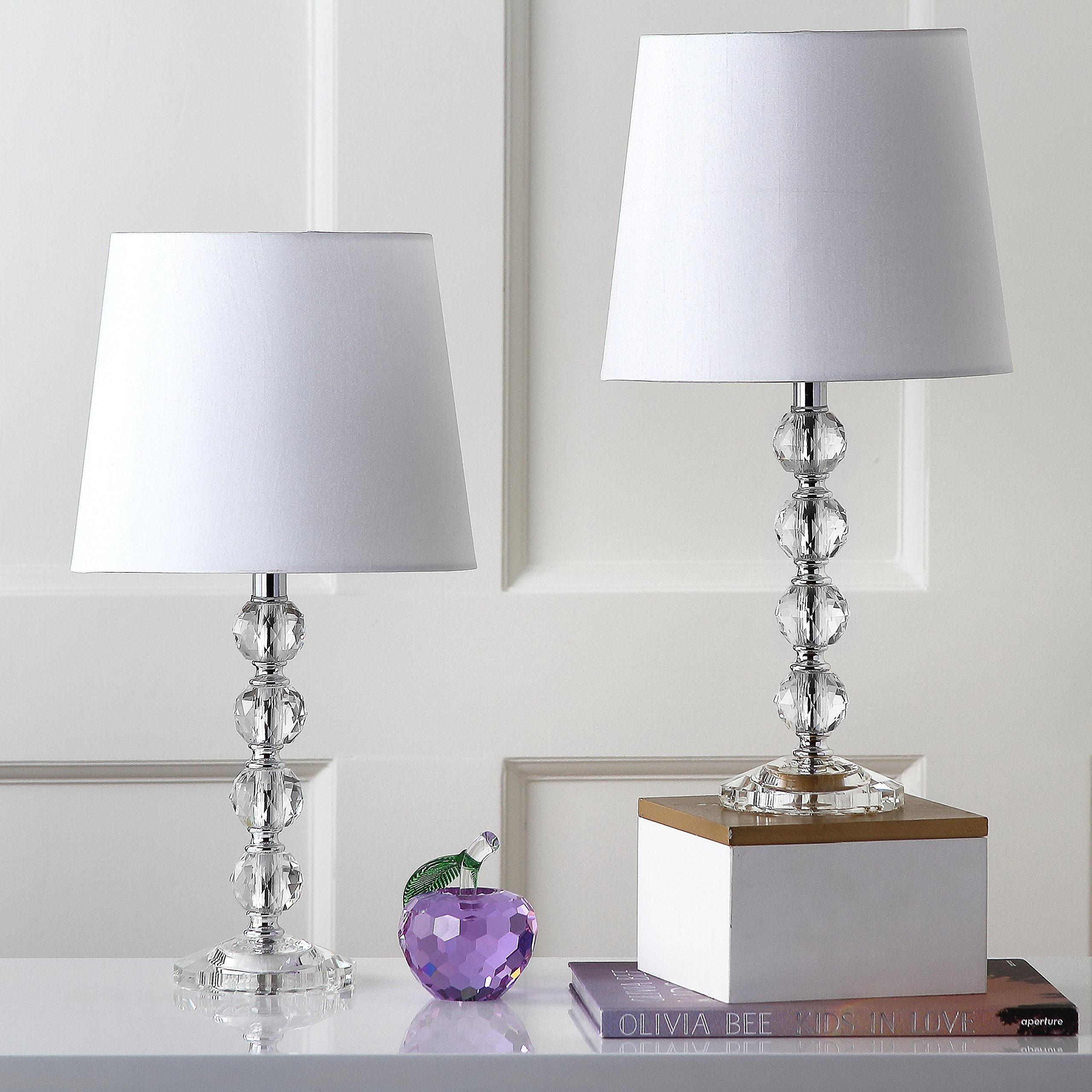 Safavieh Lighting Collection Nola Stacked Crystal Ball 16-inch Table Lamp (Set of 2)