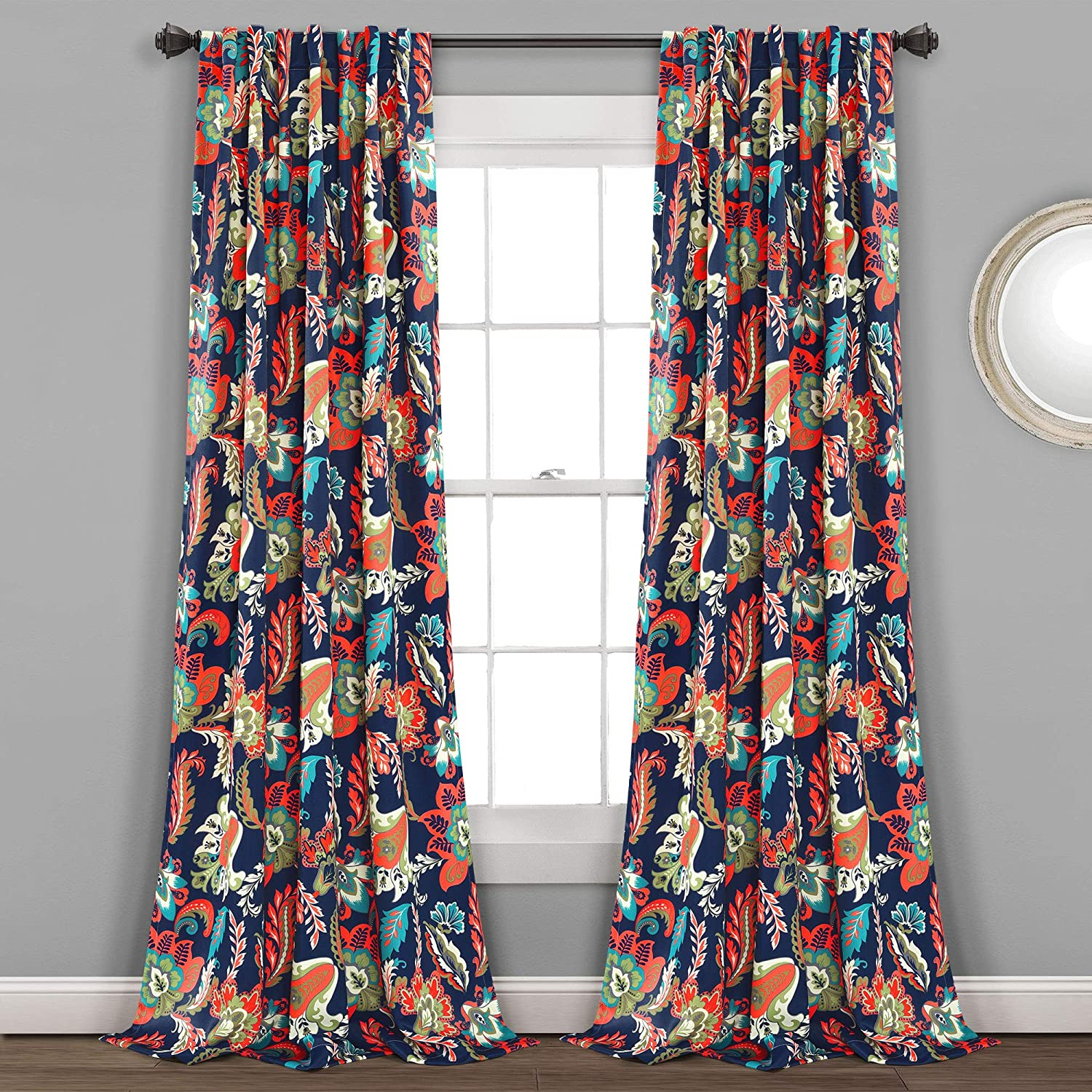 "Lush Decor, Navy Zara Jacobean Room-Darkening Window Curtain Panels, 2-Piece, (84"" x 52"")"
