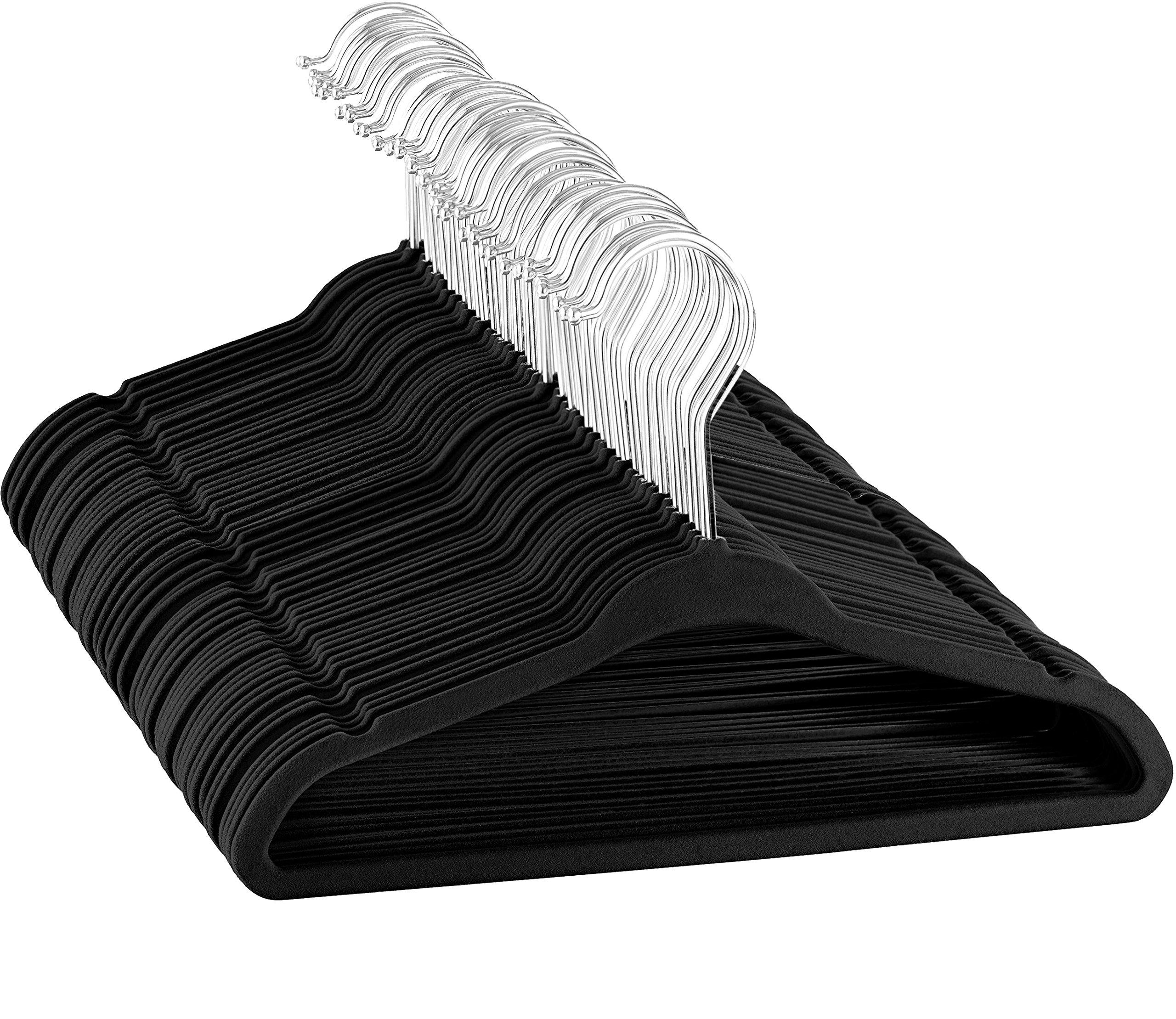 ZOBER - Kids Velvet Hangers - 50 Pack - 14'' Wide - Premium Quality Space Saving Strong and Durable 360 Degree Chrome Swivel Hook Ultra Thin Non Slip Junior Hangers - (Black)
