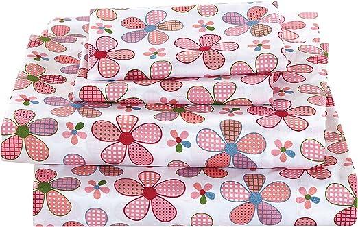 Linen Plus Twin Size 3pc Sheet Set Girls Butterflies Purple White Turquoise Pink