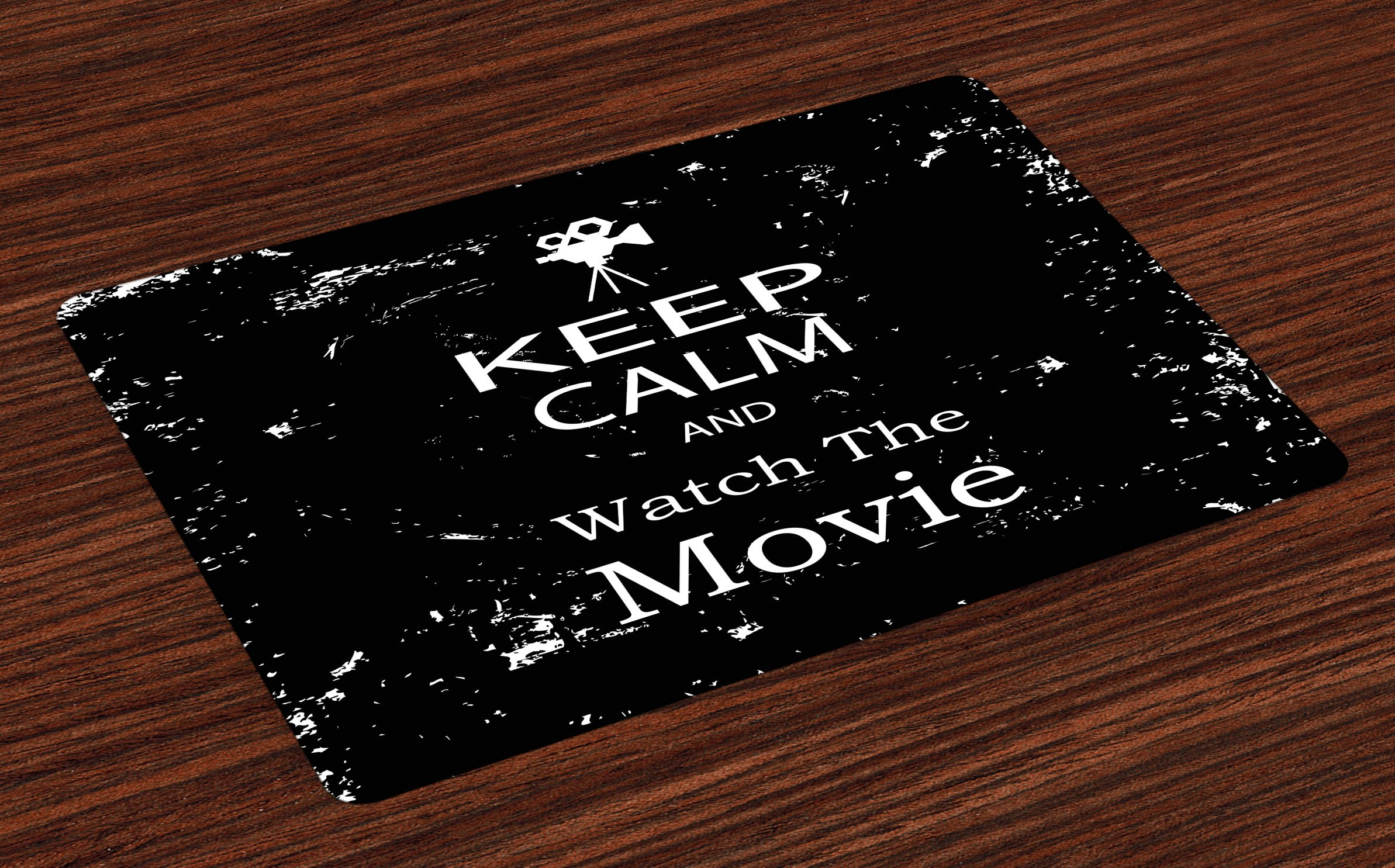 Ambesonne Keep Calm Place Mats Set of 4, Watch the Movie Quote for Film Buffs Grungy Weathered Backdrop with Old Camera, Washable Fabric Placemats for Dining Room Kitchen Table Decor, Black White