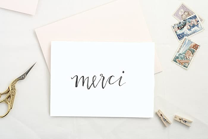 merci card thank you card set box of blank cards floral card