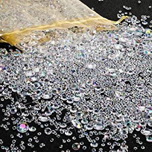 7000 Pieces Vase Filler Bling Bling Diamond The Acrylic Gem Table Scatter Crystals in Four Sizes Table Decorations for Vase Filler Christmas Wedding Birthday Party (AB White)