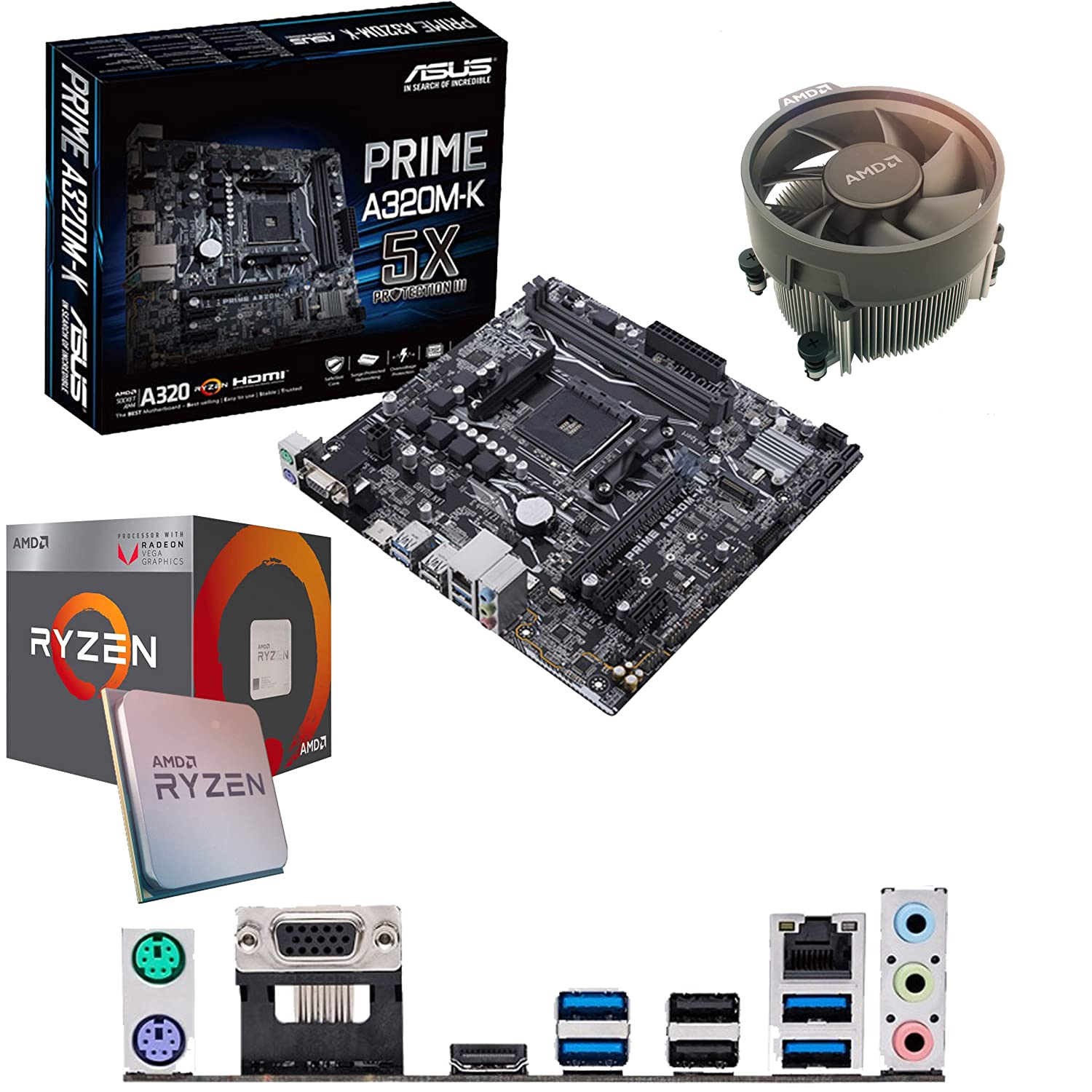 Components4All AMD Ryzen 3 2200G 3 5Ghz (Turbo 3 7Ghz) Quad Core CPU, ASUS  Prime A320M-K Motherboard & 8GB 2133Mhz Crucial DDR4 RAM Pre-Built Bundle