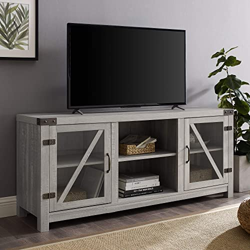 Home Accent Furnishings New 58 Inch Rustic Farmhouse TV Stand in a Stone Grey Finish