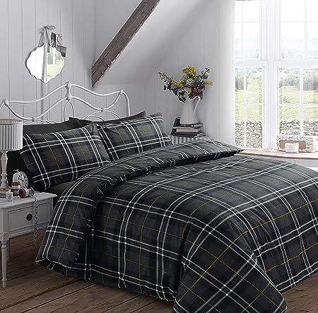 100/% Brushed Cotton Flannelette Reversible Duvet Quilt Cover Bedding Set