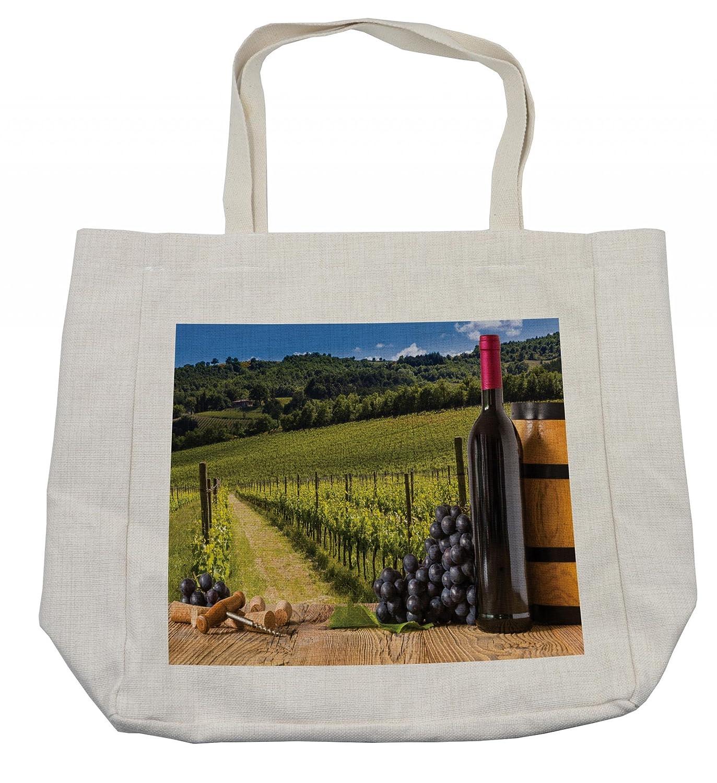 (アンベソン) Ambesonne ワインボトル ワインボトル ワインボトル ワインボトル 木の上のグレープ付き イタリアテラス風景 環境に優しい 再利用可能なバッグ 食料品 ビーチ 旅行 学校 その他に クリーム B07G19FPLB